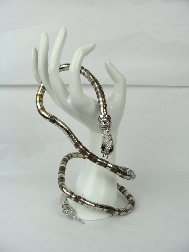 Vintage Snake Necklace Belt Bracelet 70s Articulated Mixed Metal Stacked Beads Coil Serpentine Spine Chain Wrap OOAK Unique Statement Piece