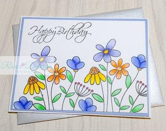 Handmade Birthday Floral Card   Stamped