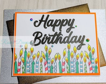 Handmade Birthday Candle Card   Stamped