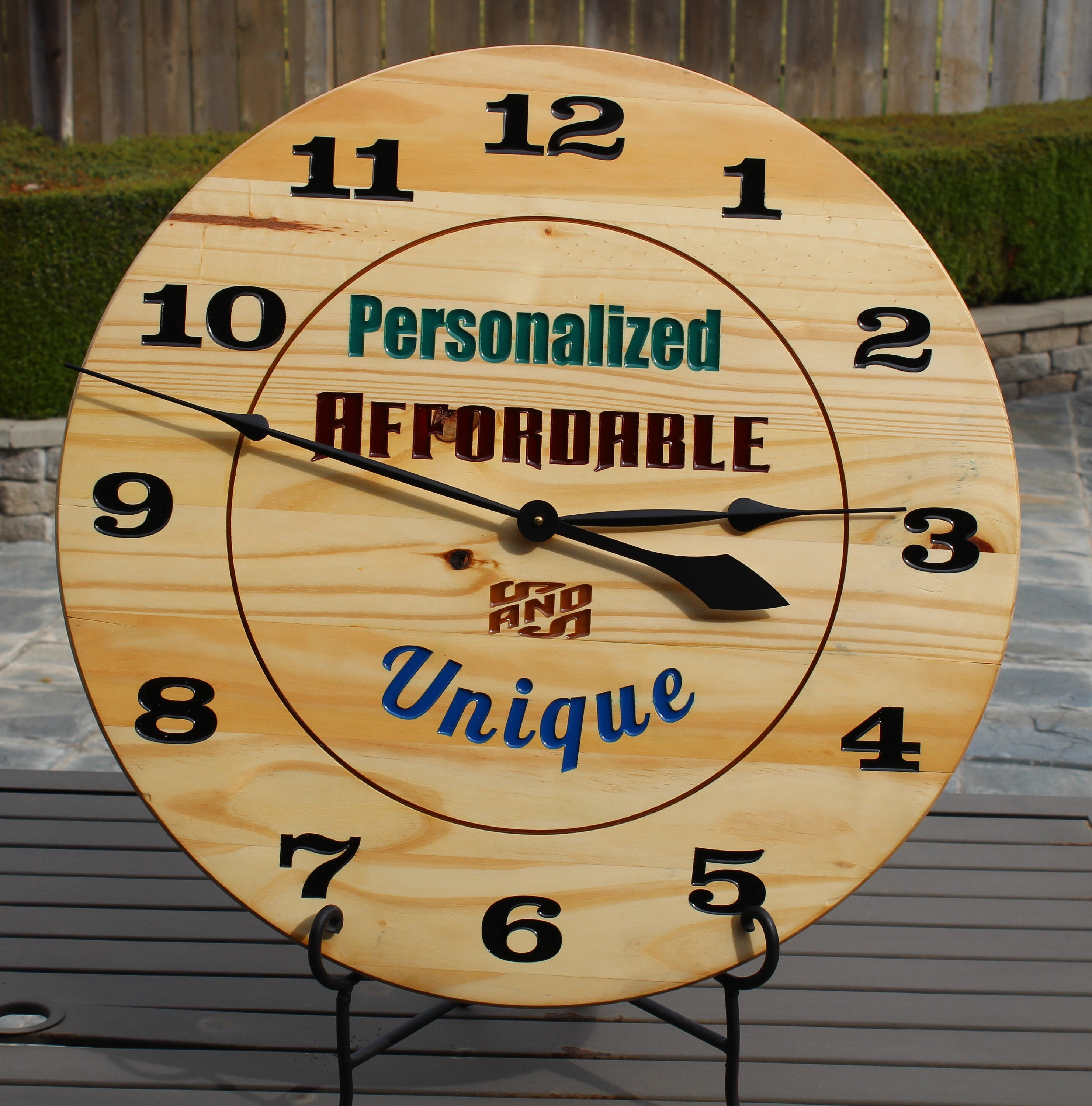 Personalized Unique Large Wooden Time Wall Clock