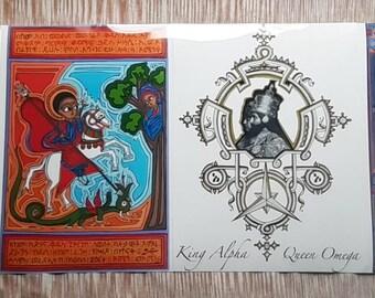 High-Definition Poster 30x40 cm with Original RastafarI Ethiopian Graphics with Ge'ez Amharic Arabic Writings and Meditations