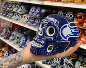 Seattle Seahawks Football Sugar Skull - dia de los muertos - hand painted - football fan collectibles - free battery tea light