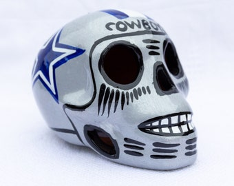 b817e75e small dallas cowboy sugar skull - dia de los muertos - hand painted - day  of the dead - Mexican sculpture - NFL