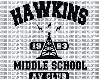 5b4e2901 Stranger Things Hawkins Middle School AV Club Logo Cut File for Cameo and  Cricut Instant Download