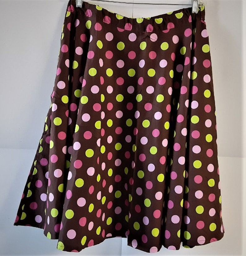 Polka Dot Ladies Skirt Multi Colored Dots Waist Is 34 and Stretches To 36/' Length Is 28.