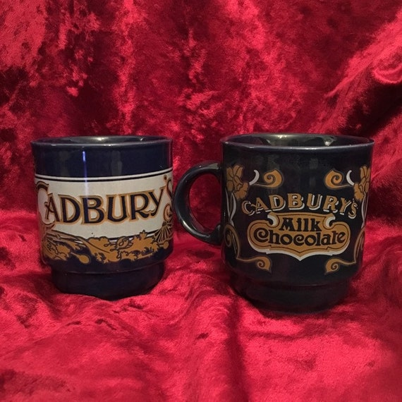 Vintage Pair Of Cadbury Hot Chocolate Cocoa Mugs Earthernware Mug 80s Ceramics Made In England Kilncraft Purple Vintage Cups