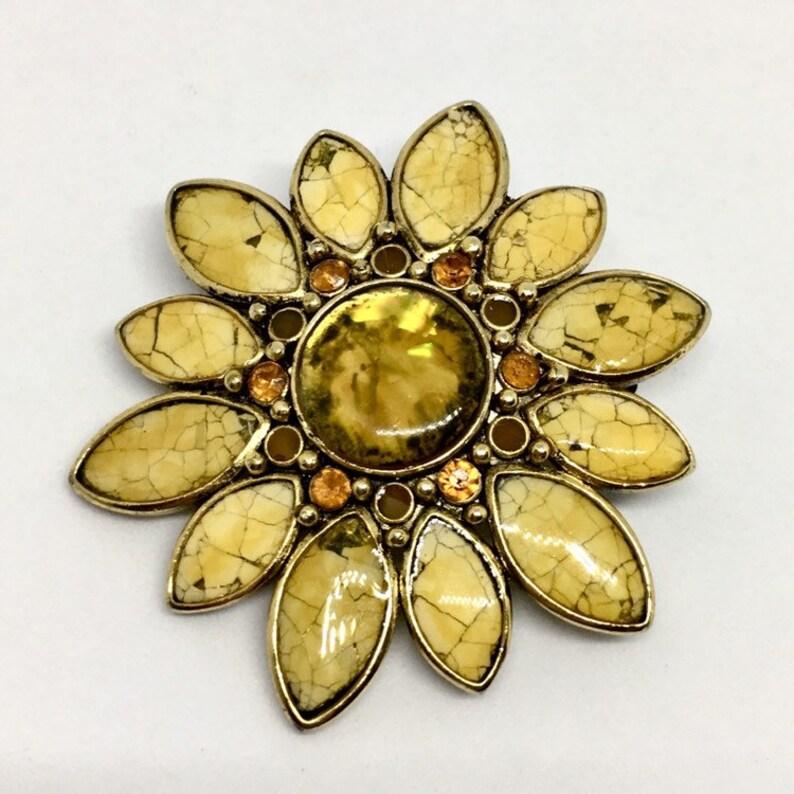 04c81ef8a29 Vintage 90s sunflower orange yellow floral flower brooch/pin.   Etsy