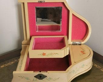 Vintage Piano Music Box. Jewellery Box. Floral. Japanese Fuji.