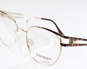2722fafe7ca NOS Yves Saint Laurent YSL Brown Tortoise Gold Eyeglasses 4027 Y134  53 17 130