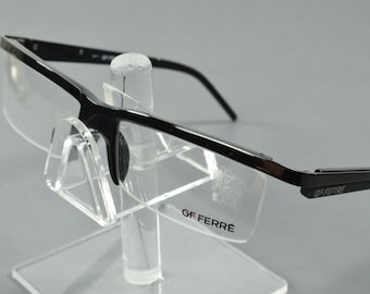 81ea33b319 NOS Vintage GF Ferre Black Half Rimless Eyeglasses FF16601 52 16 135