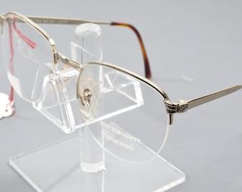 8c43e6225e NOS Vintage Gio Visconti Swiss Made Silver Half Rimless Eyeglasses GV1004  50 18
