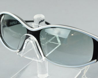 f66ac019ad38 NOS Vintage Safilo Azalea Black Blue Oval Sunglasses 1980s Italy NEW