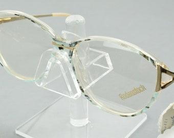 f4b81de21b53c NOS Vintage Rodenstock Exclusiv 345 C Blue Gold Oversized Eyeglasses