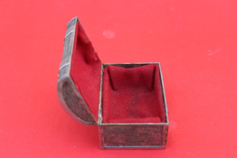Vintage Indian Jew German Silver Box  With Red Velvet Padding Inside From 1940 s Antique collective Box Rare find Metal Box