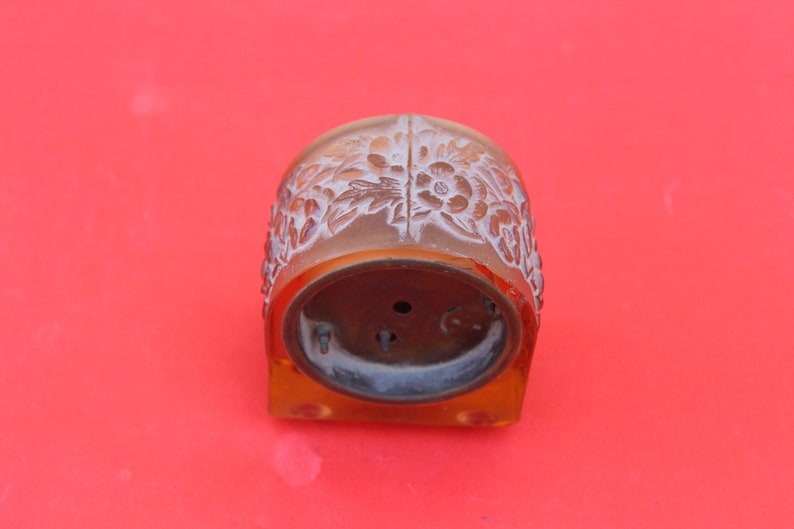 Vintage Glass Heavy weight Japanese Table watch from 1960 s, Floral pattern graved, Antique watch, Collectible watch
