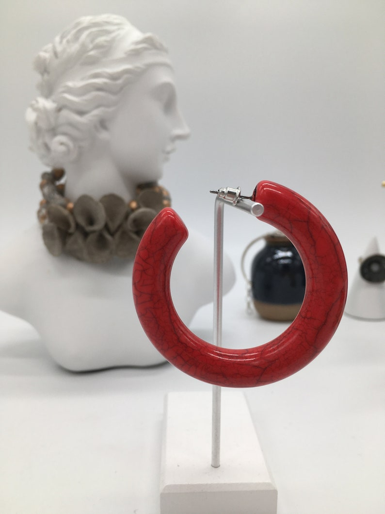 Bold Animal Tortoise Shell Large Rose Red Marble Stone Round Circle Stud Hoop 55mm Fun Earrings 925 Statement Acrylic Charms