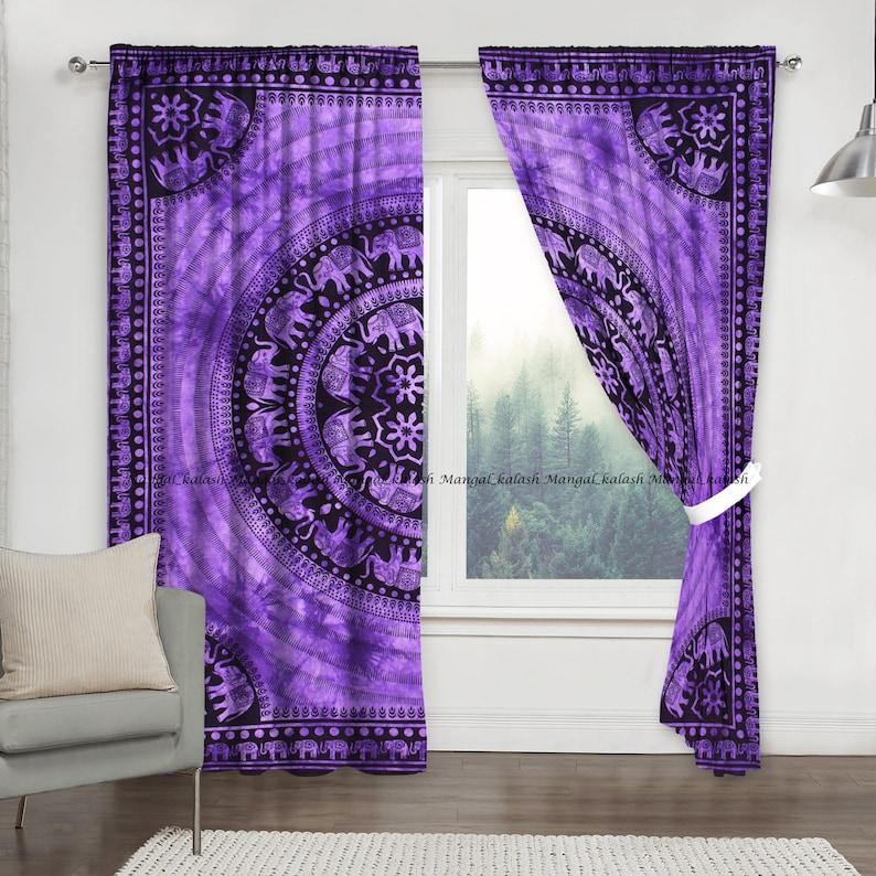 Elephant mandala curtain window door decor indian hippie boho bohemian cotton wall hanging living room treatment tapestry drapes set