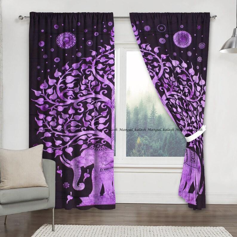 Indian cotton elephant mandala window door curtain handmade boho bohemian living room treatment tapestry drapes wall hanging set home decor
