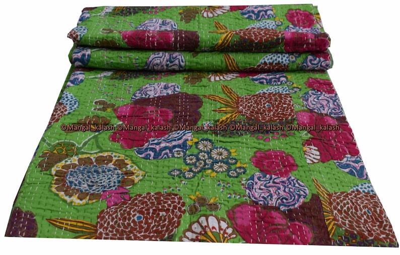 Indian floral fruit cotton kantha quilt handmade hobo bohemian vintage bedding bedspread hippie blanket twin size bed cover