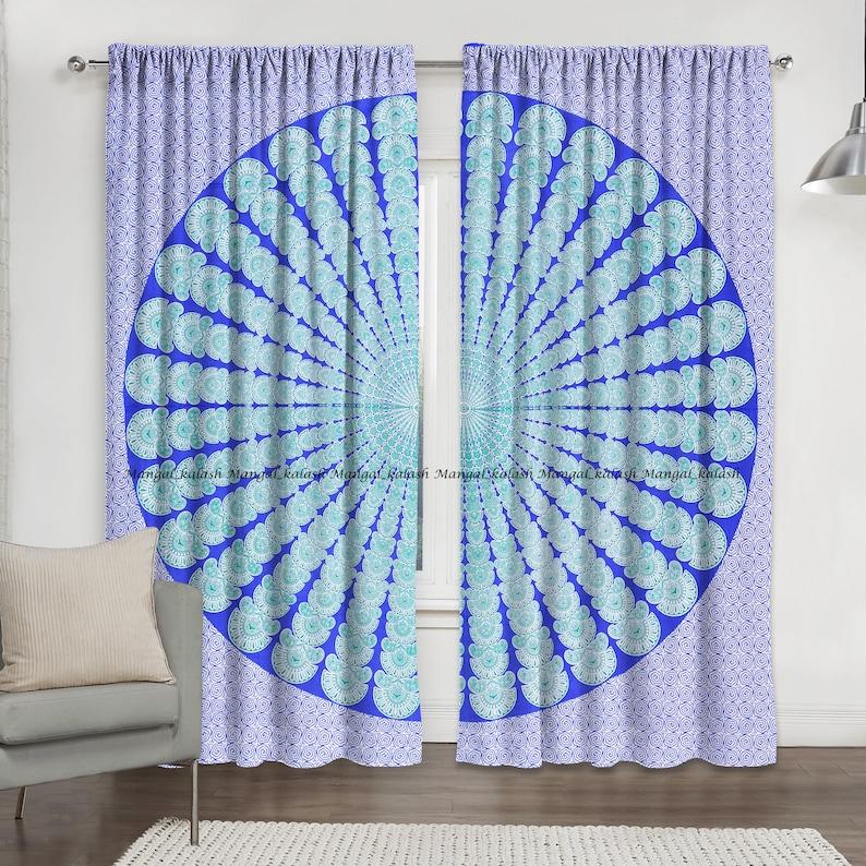 Indian cotton wall hanging peacock mandala window door curtain hippie bohemian tapestry drapes living room treatment curtain home decor