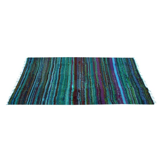 Handmade Chindi Rag Reversible Runner Yoga Mat Cotton Dhurrie Recycled Porch Woven Floor Living Room Carpet