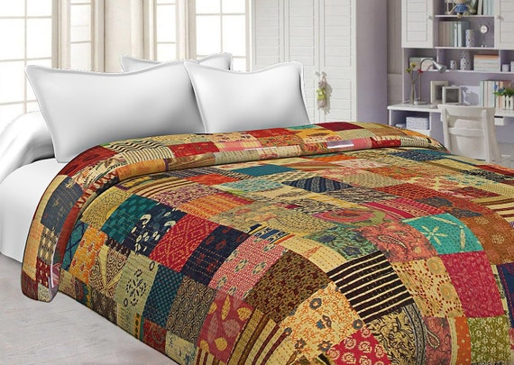 Indian Handmade Bedspread Cotton Kantha Blanket Quilt Throw Twin Bed Cover