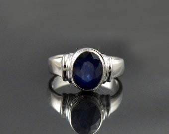 Natural  Sapphire Gemstone Ring Sterling Silver Ring Birthstone Gift Ring Faceted Sapphire Ring Jewelry Sapphire Ring
