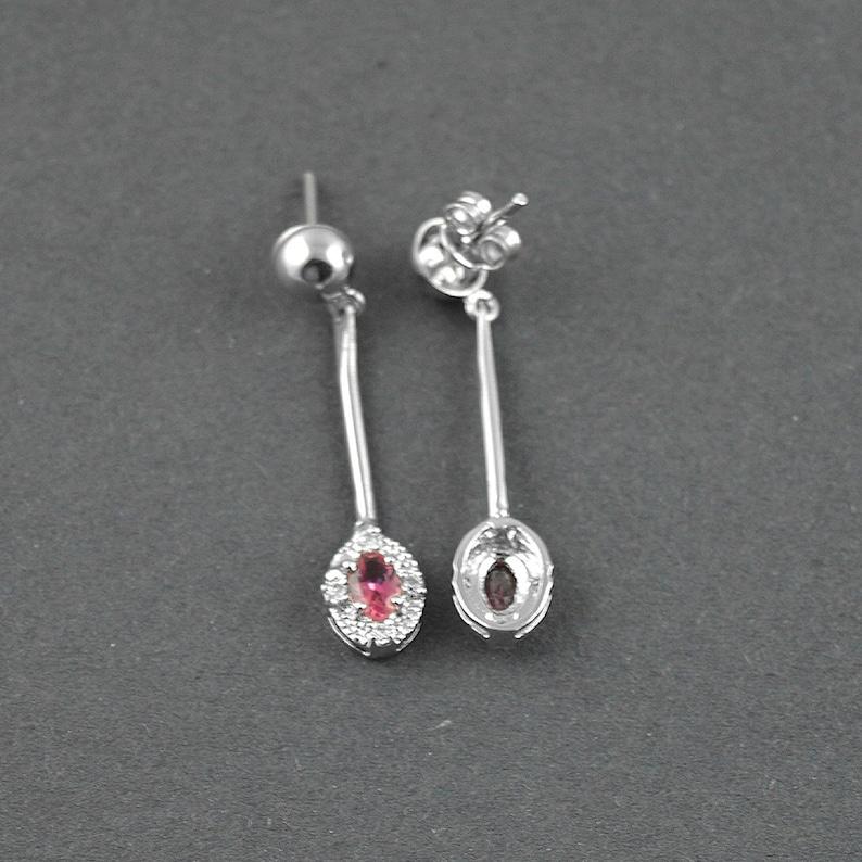 Handmade Earrings Natural Pink Tourmaline Silver Earrings-925 Sterling Silver Pink Tourmaline Earrings-Dangle Earrings Gemstone Earrings
