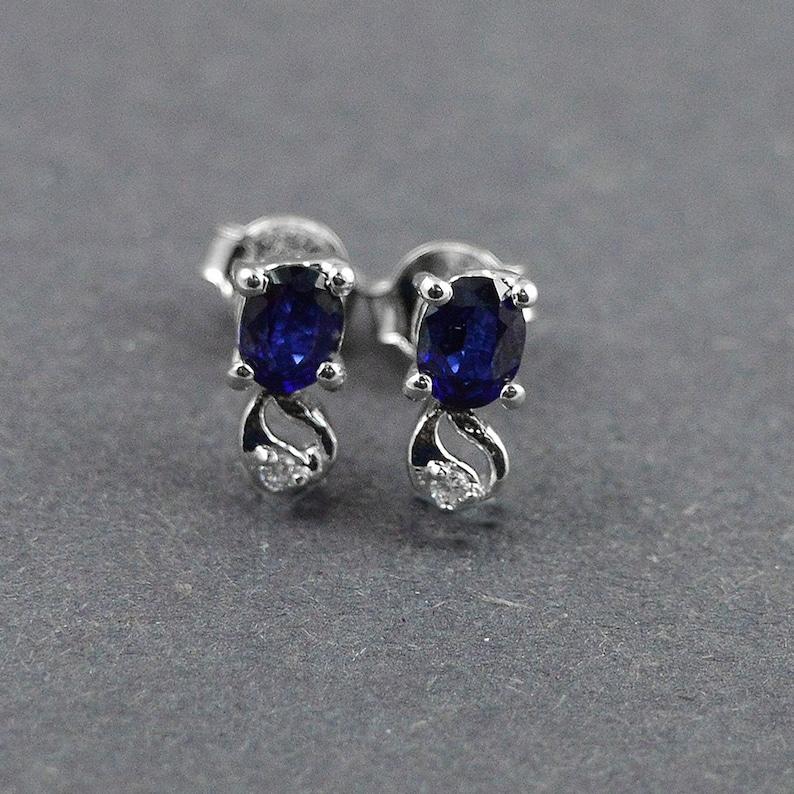 Gemstone Earrings Natural Sapphire 925 Silver Earrings Birthstone Studs Sapphire Silver Sapphire Studs Blue Stone Stud Handmade Studs