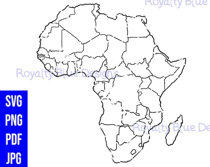 Map of AFRICA, Continent, png, pdf, svg, Black Outline, digital download, instant