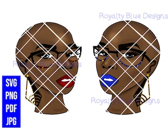 RISSA RED, svg, png, pdf, BALD black woman, digital download
