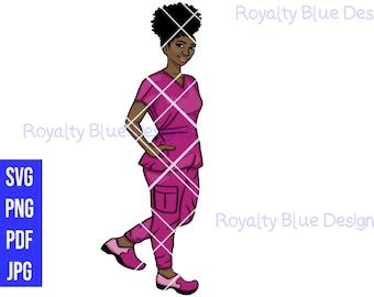 NURSE 2 MVPs, Pink Scrubs, svg, png, pdf, Registered Nurse, Caregiver RN, LVN, Nurses Rock, Stethoscope, hospital, cna, afro, black women