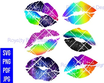 KISSES RAINBOW Bundle 6, svg, png, pdf, jpg, digital download,