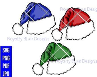 SANTA HATS 3 Bundle, svg, png, pdf, jpg,digital download, printable