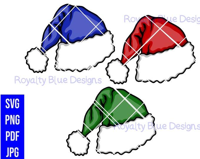 SANTA HATS 3 Bundle, svg, png, pdf, jpg,digital download, printable