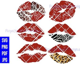 KISSES WILD RED Bundle 6, svg, png, pdf, jpg, digital download