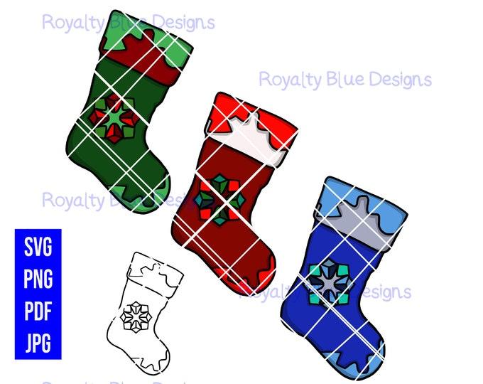 CHRISTMAS STOCKINGS 3 Bundle, svg, png, pdf, jpg, digital download