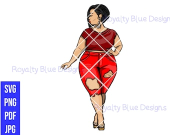 MISS T SASSY RED Bundle,svg, png, pdf, thick full body bbw, digital download