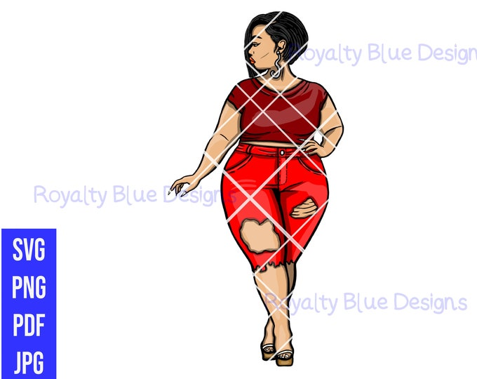 MISS T SASSY RED Bundle,svg, png, pdf, thick full body bbw, digital download