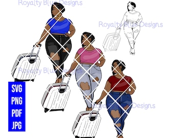 MISS T BOB Bundle,svg, png, pdf, thick full body bbw, catch flights, vacation, curvy sexy ripped jeans, fashion, short black hair cut