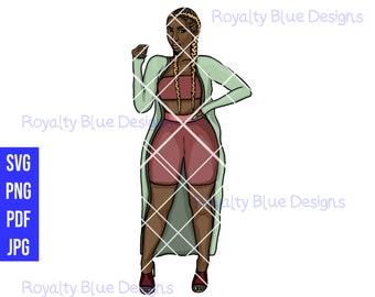 SANAE BRAIDS, Blonde, Pink Green, svg, png, pdf, jpg, digital download, instant