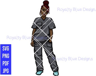 LOCCED UP Nurse, GRAY Scrubs, locs, svg, png, Registered Nurse, Caregiver rn, black Nurses Rock, Natural Hair, hospital, cna, Medical,