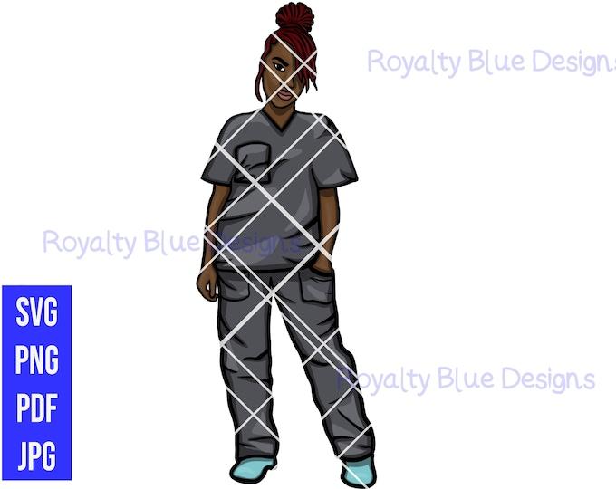 LOCCED UP Nurse, GRAY Scrubs, locs, svg, png, Registered Nurse, Caregiver rn, black Nurses Rock, Natural Hair, hospital, cna, Medical,