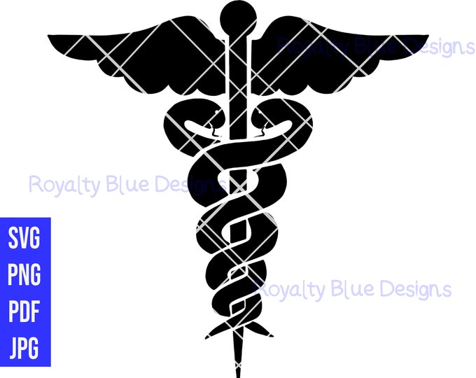 Caduceus Medical Symbol, svg, png, pdf, Logo, digital download