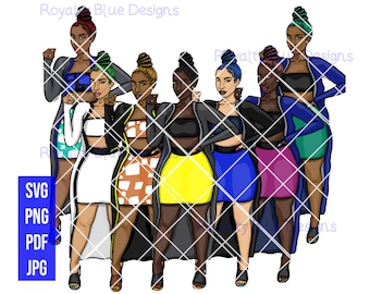 SANAE 7 BUN BUNDLE, svg, png, pdf, thick full body, Fashion, blue, pink, yellow, teal, black, hair color, sexy, cultural, afro latina, skirt