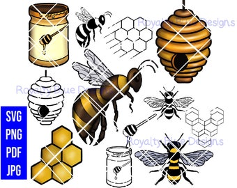 HONEY BEE PALACE Bundle, Beehive png, svg, pdf, digital download