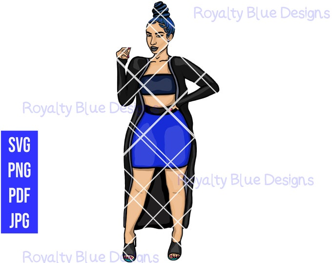 SANAE BLUE BUN, svg, png, pdf, thick full body, curvy fashion, blue hair color, sexy, cultural, top bun, cardigan kimono, pretty, best skirt