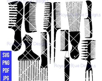 HAIR COMBS 10 BUNDLE, black combs, svg, png, pdf, digital download, instant