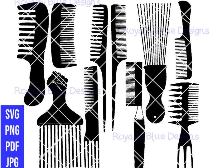 HAIR COMBS 10 BUNDLE, black combs, svg, png, pdf, digital download, instant