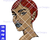 JINA 8, red hair, svg, png, woman with short cut, beautiful skin, red head, beauty, pearl earring, gorgeous girl, cricut digital download